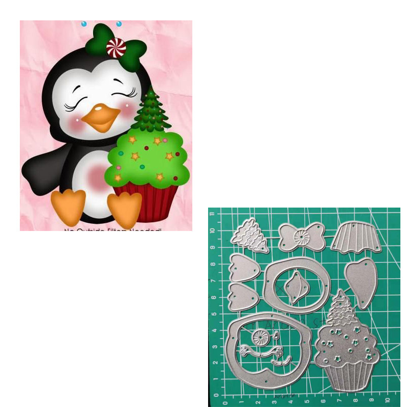 Christmas Penguin Tree Cutting Dies For Scrapbooker Photo Album Embossing Paper Cards Making