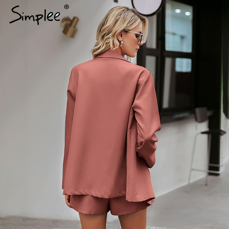 Image 3 - Simplee Elegant two piece office ladies blazer suits Buttons pockets sash belted women shorts suit Casual streetwear blazer setsWomens Sets   -