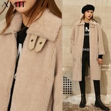 Amii Minimalisme Winter Bont Vrouwen Jas Fashion Solid Revers Losse Stand Kraag Bontjas Vrouwelijke Jas Winterjas Vrouwen 12020366