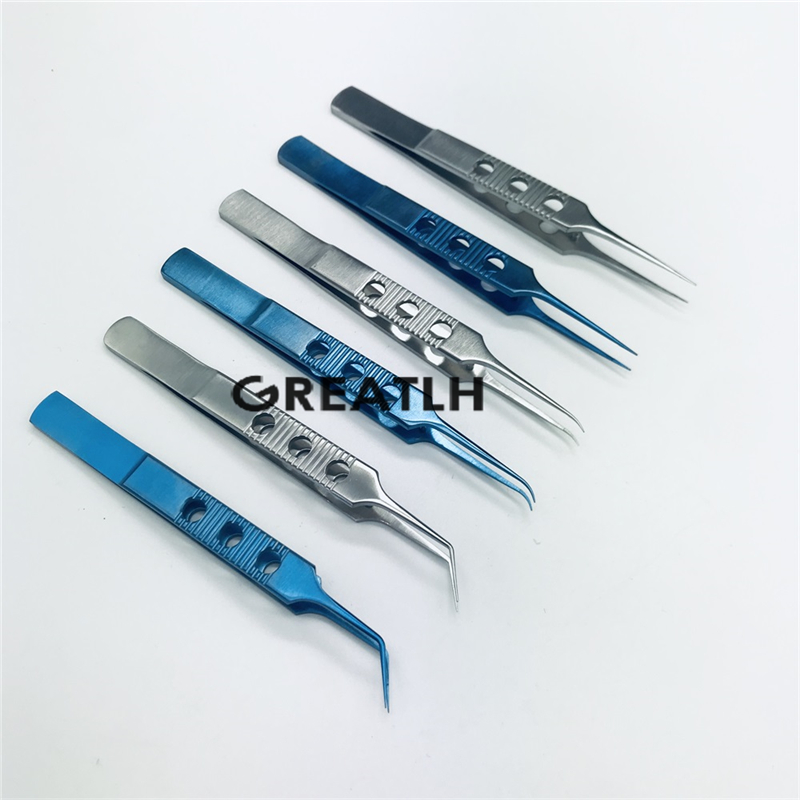 11cm Micro Forceps Ophthalmic Microsurgery Tweezer Stainless Steel Titanium Micro Surgical Tools Ophthalmic Tweezer