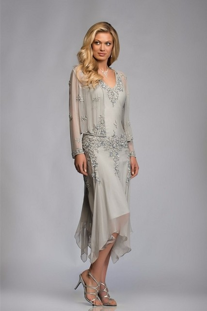 With Jacket Mother Of The Bride Dresses A-line Tea Length Chiffon Beaded Plus Size Short Groom Mother Dresses For Wedding 2