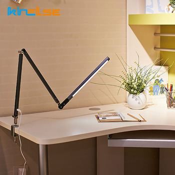 Modern Dimmable LED Desk Lamp with Clamp Adjustable Swing Long Arm Business Office Study Desktop Light for Table Luminaire