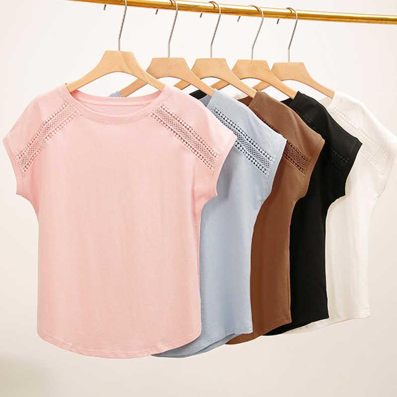 2019 コットン女性ブラウス夏半袖シャツ女性のためのシャツプラスサイズ S-5XL トップス女性服韓国 Blusas 女性