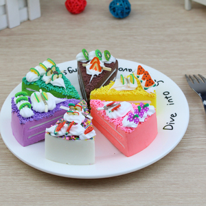 Image 1 - 3 pcs/6 pcs עוגת מזויף פירות עוגת דגם מודל עוגת תה שולחן קישוט מלאכותי פירות עוגות קינוח מזויף