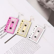 Retro Cassette Tape Dangle Cute Pretty Drop Earrings For Women Fashion Jewelry