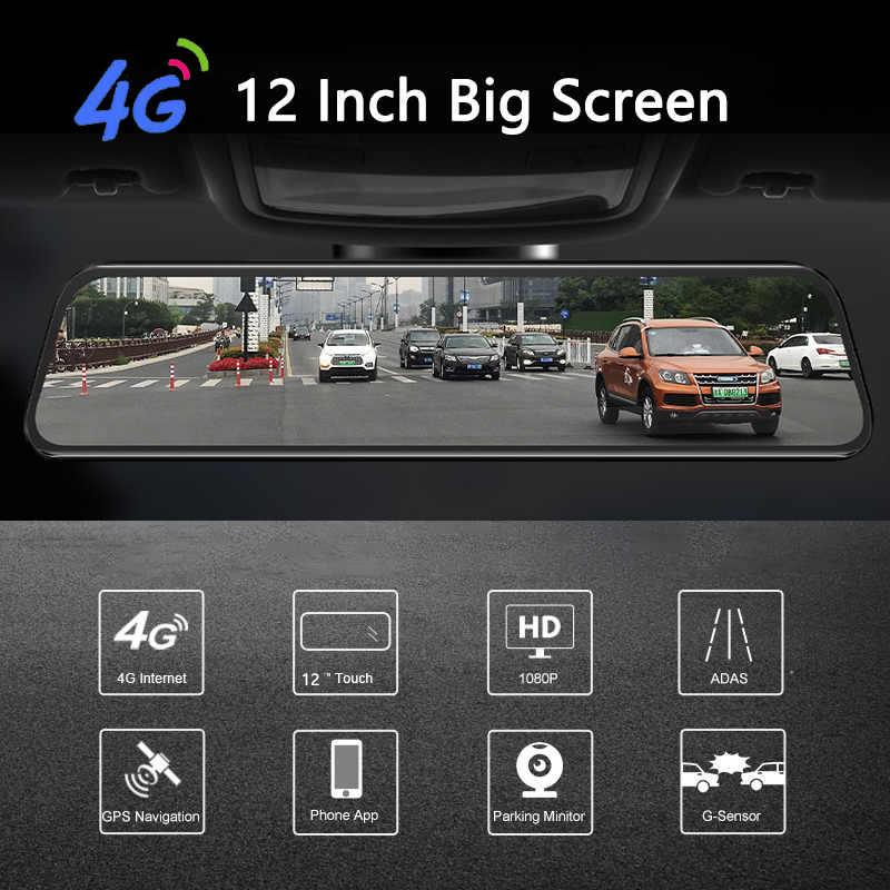 2019 12 Inch Android 8.1 Xe Dvrs Camera GPS NAVI Bluetooth Siêu Nhỏ FHD Chiếu Hậu Với Camera DVR 4 wifi ADAS Dash Cam