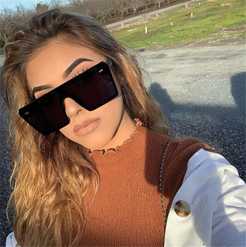 Oversize Square Sunglasses Women Brand Designer Fashion Flat Top Gradient Sun glasses Men Rimless Large Frame Oculos UV400