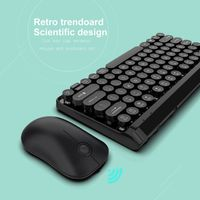Retro L100 2.4G Wireless Keyboard Mouse Combo Set 2.4G USB Rechargeable Optical Mouse Round 77 Key Cap Keyboard For PC Computer