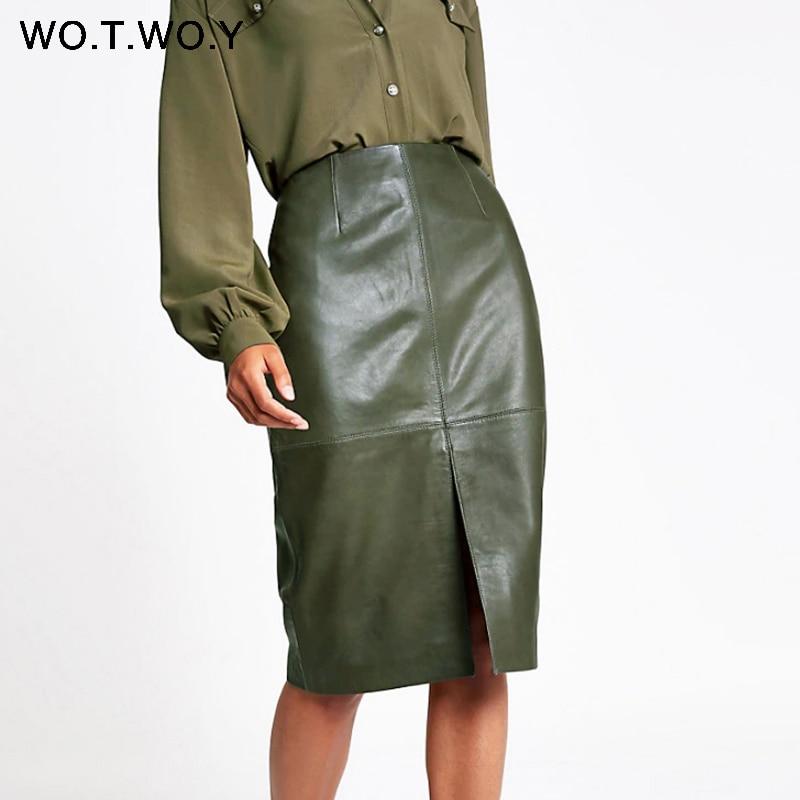 Wotwoy outono escritório senhora do falso couro feminino saia 2019 formal de cintura alta midi lápis saia na altura do joelho de volta dividir saia das mulheres