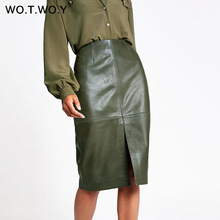 купить WOTWOY Autumn Office Lady Faux Leather Women Skirt 2019 Formal High Waist Midi Pencil Skirt Knee-Length Back Split Skirt Womens дешево