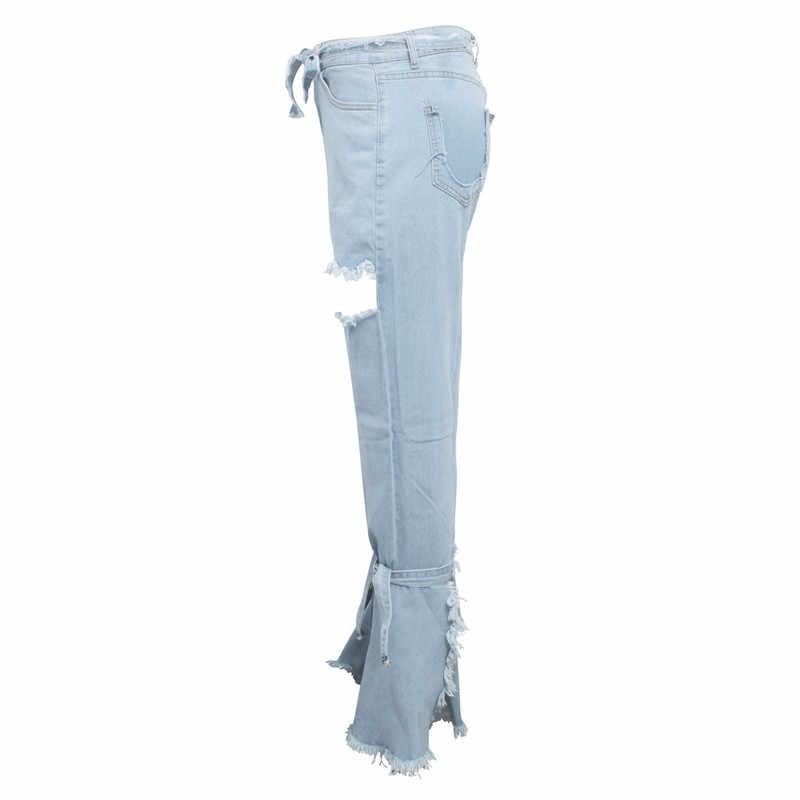 Tsuretobe Patchwork Denim parlama parlama kot kadın Retro yüksek bel geniş bacak kot rahat bandaj pantolon çan alt kot kadın