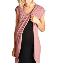 Women Maternity Dresses Short Sleeve Solid Color Nursing Nightdress Breastfeeding Cardigan for Pregnant Clothing
