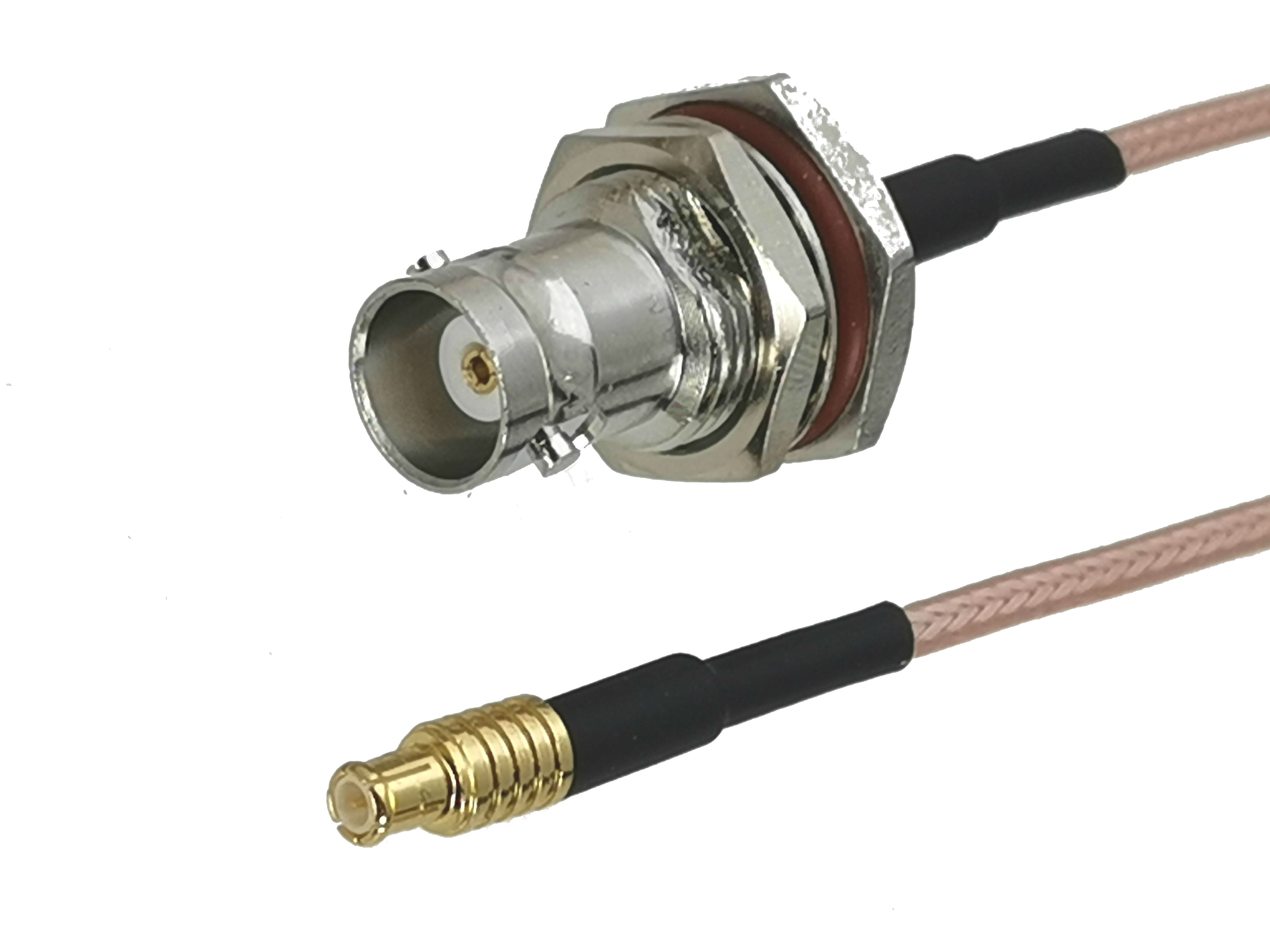 RG316 RF pigtail cable BNC male right angle to BNC female bulkhead