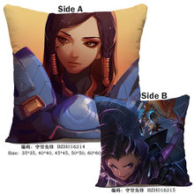 45X45CM Anime Game Overwatches Pillow Case OW Dva Mercy Mei Hanzo Genji Reaper Dakimakura case 3D double sided Print Pillowcase(China)