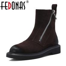 Fedonas vaca camurça tornozelo botas grossas outono inverno senhoras curtas sapatos mulher de alta qualidade botas da motocicleta senhoras botas básicas