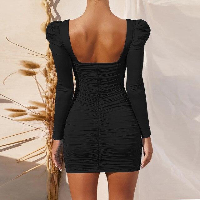 Women Long Sleeve Sexy Bodycon Mini Dress Autumn Winter Basic Square Collar Ruched Slim Black Party Club Short Dress Vestidos 4