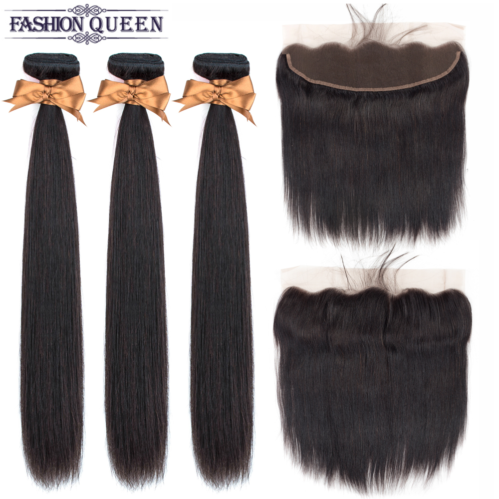 H53c62ec1a8de4c8cb814c44efaa4eeb8U Brazilian Straight Hair Lace Frontal With Hair Weave Bundles Human Hair Extension Bundles With Frontal Non Remy Fashion Queen