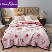 Autumn and winter lamb velvet blankets double-layer thickening velvet blankets single and double warm siesta blanket