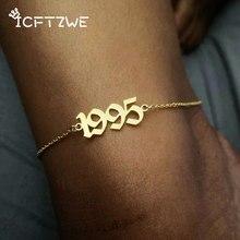 Edelstahl Geburt Jahr Fußkettchen Für Frauen Alten Englisch Jahr Anzahl 1995 Gold Fußkettchen Armband Fuß Kette Valentine Schmuck Geschenk