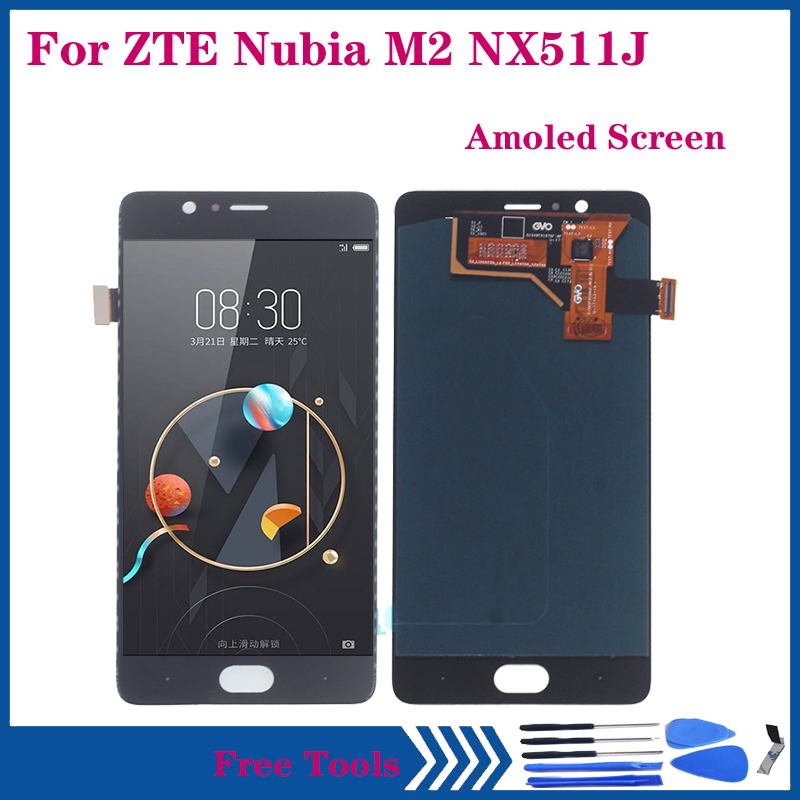 Amoled Display For ZTE Nubia M2 <font><b>NX551J</b></font> LCD DISPLAY Touch Screen Digitizer Assembly for nubia m2 OLED Repair parts image