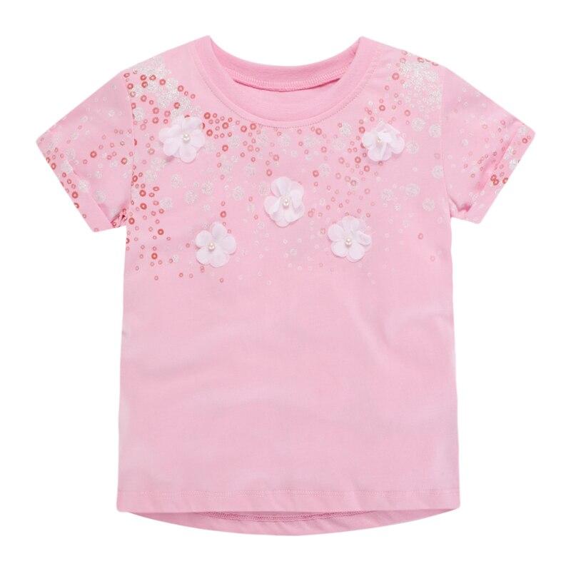 Little Maven-vêtements dété pour enfants | Motif Floral rose, col rond, manches courtes, en coton tricoté, doux t-shirts décontracté és pour filles, nouvelle collection