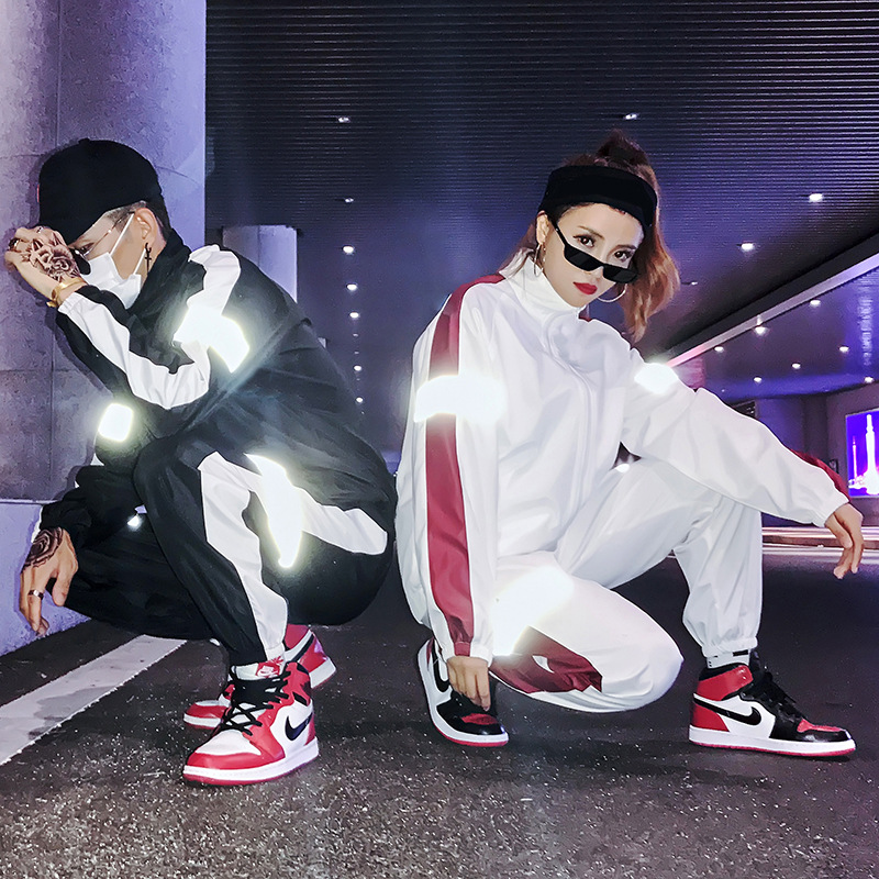 Europe And America Handsome Athletic Pants 3m Reflective Set Jacket Men's Popular Brand Hip Hop Women's Couples INS Street Snap