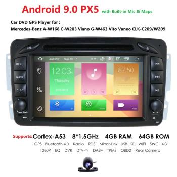 Car Multimedia player Android 9.0 PX5 2 Din GPS Autoradio For Mercedes/Benz/CLK/W209/W203/W208/W463/Vaneo/Viano/Vito FM DSP DVR image
