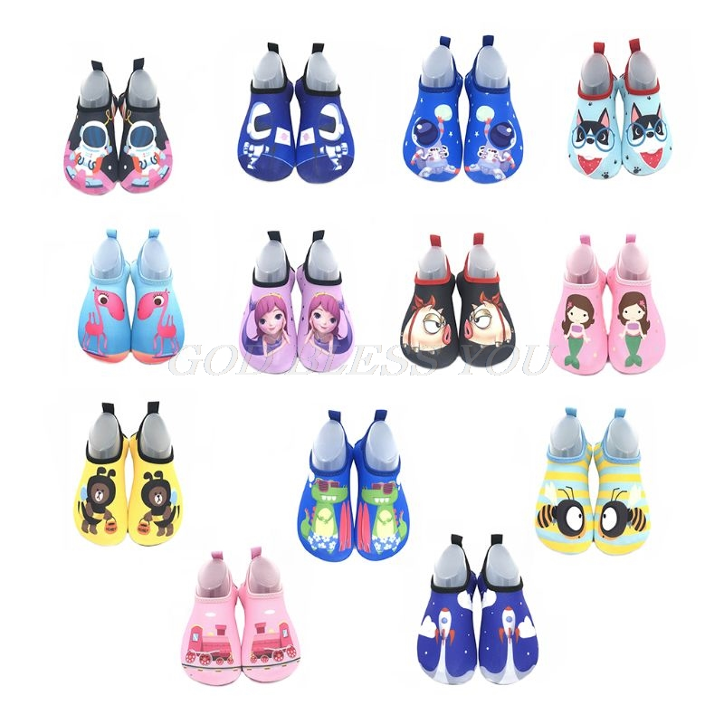 1 Pair Kids Cartoon Swim Shoes Boy Girl Anti Slip Socks Beach Pool Surfing Not Absorbing Water Lightweight Swimming Accessory