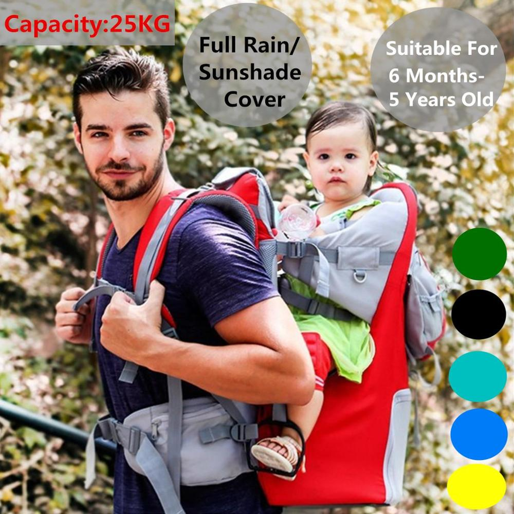 Breathable Newborn Baby Carrier Sling Wrap Infant Hip Seat Portable Baby Toddler Hiking Carrier Backpack with Raincover for 0-5Y