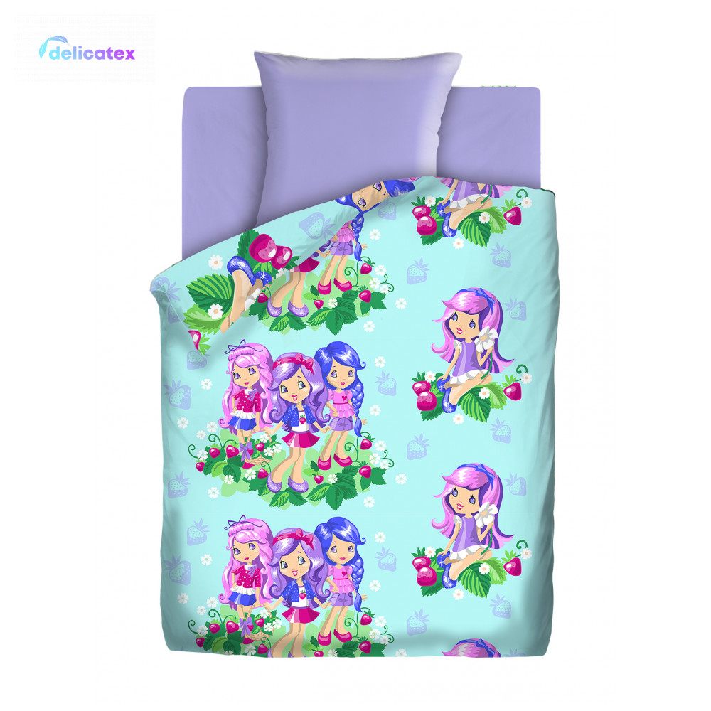 Bedding Sets Delicatex 16012-1+lilovyiy Zemlyanichka Home Textile Bed Sheets Linen Cushion Covers Duvet Cover Рillowcase Baby Bumpers Sets For Children Cotton