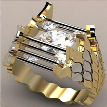 цена Fashion Classic Two Tone Silver Color Wedding Ring Bride Wedding Band Engagement Ring Accessories Lover's Rings Jewelry онлайн в 2017 году