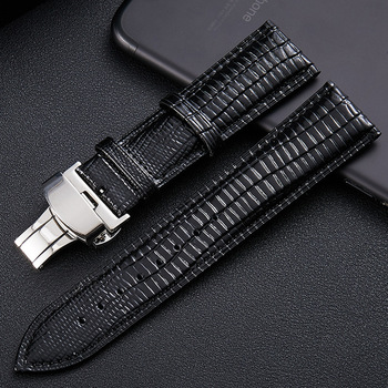Lizard Texture Butterfly Buckle Leather Watchband Leather Watch Strap Universal Watch Band 14mm 16mm 18mm 20mm 22mm 24mm dom crocodile leather watchband genuine leather strap 14mm 16mm 18mm 20mm 22mm 24mm black brown women men watch band