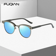 FUQIAN 2020 Luxury Metal Polarized Sunglasses Men Women Brand Design Small Round Male Sun Glasses Fashion TR90 Driving Sunglass