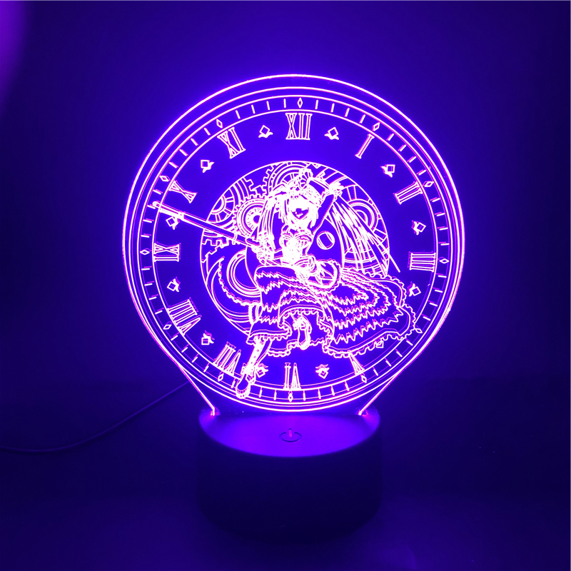 3D Lamp Kurumi Date A Live The Alarm Clock Base Atmosphere For Birthday Decoration Battery Powered Usb Led Night Light Lamp