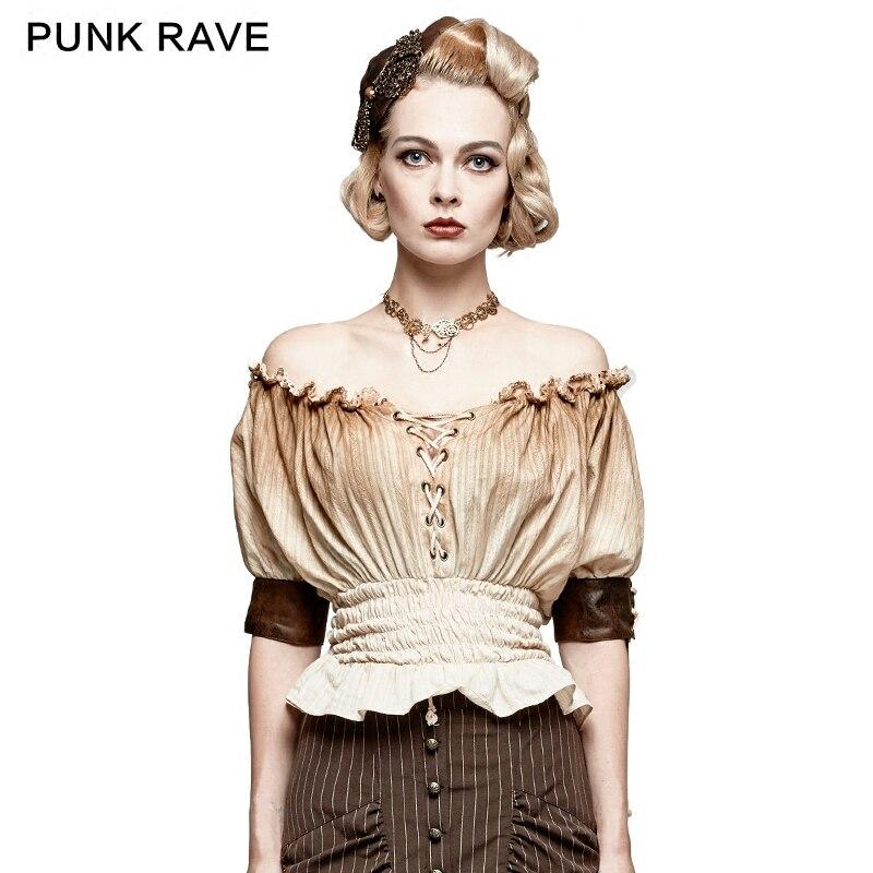 PUNK RAVE nouveau Steampunk mode classique Slash cou coton taille étroite T-shirt femmes top sexy T-shirt