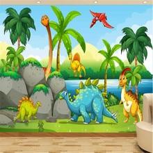 milofi custom large wallpaper mural cartoon dinosaur childrens room 3D background