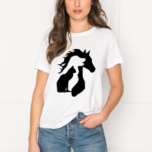 Graphic Tee Tshirt Women Clothes Dog-Horse-Printed Streetwear Tumblr Femme