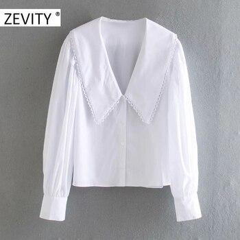 ZEVITY women sweet peter pan collar lace stitching casual poplin blouse shirts women puff sleeve white chemise chic tops LS7201 1