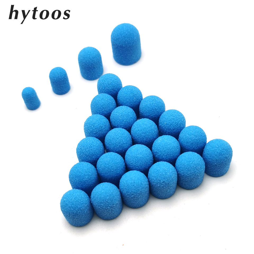 HYTOOS 20Pcs Blue Plastic Base Sanding Caps With GripPedicure Polishing Drill Bit Drill Accessories Foot Cuticle Calluses Tool