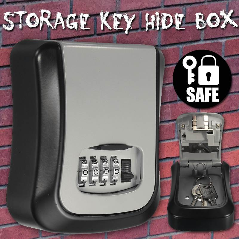 Safurance Mini Key Safe Box Outdoor Key Lock Box Aluminium Wall Mounted Waterproof 4 Digit Combination Password