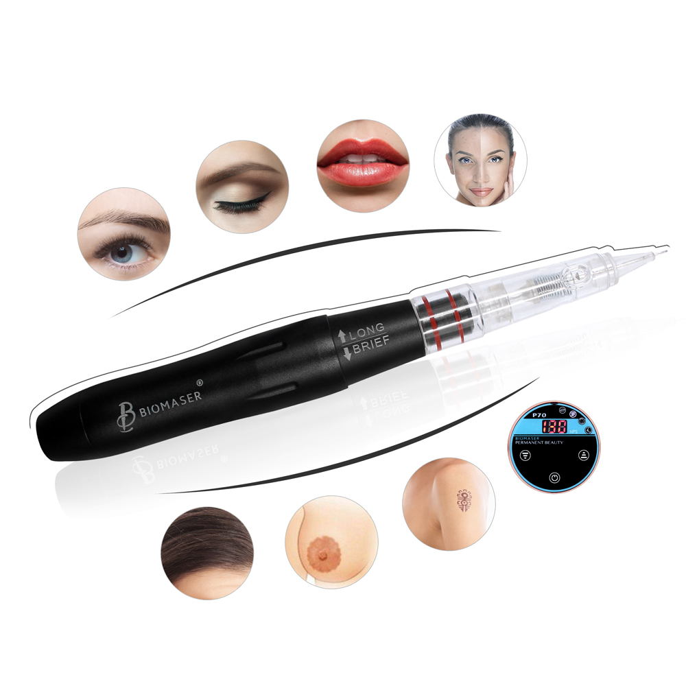 BIOMASER Mini Beauty Permanent Makeup Machine Eyebrow Embroidery Digital Tattoo Pen Kits Strong Quiet Motor for Eyebrow Lips