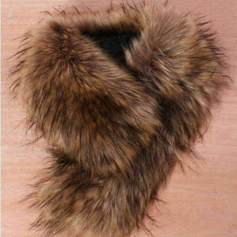 가짜 여우 모피 칼라 겨울 여성 스카프 겨울 자켓 후드 모피 장식 목도리 여러 가지 빛깔의 남성 코트 모피 칼라