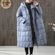 Fitaylor Winter Frauen Lose Lange Mantel 90% Ente Unten Jacke Weibliche Plus Größe Mantel Winter Jacke Frauen Stitching Hooded Parka