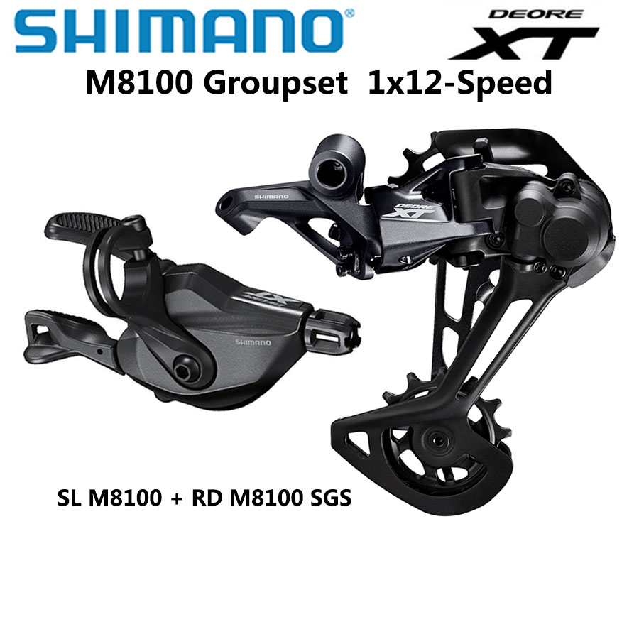 Shimano DEORE XT M8100 Groupset Mountain Bike Groupset 1x12-Speed original SL + RD M8100 Rear Derailleur m8100 Shifter Lever image