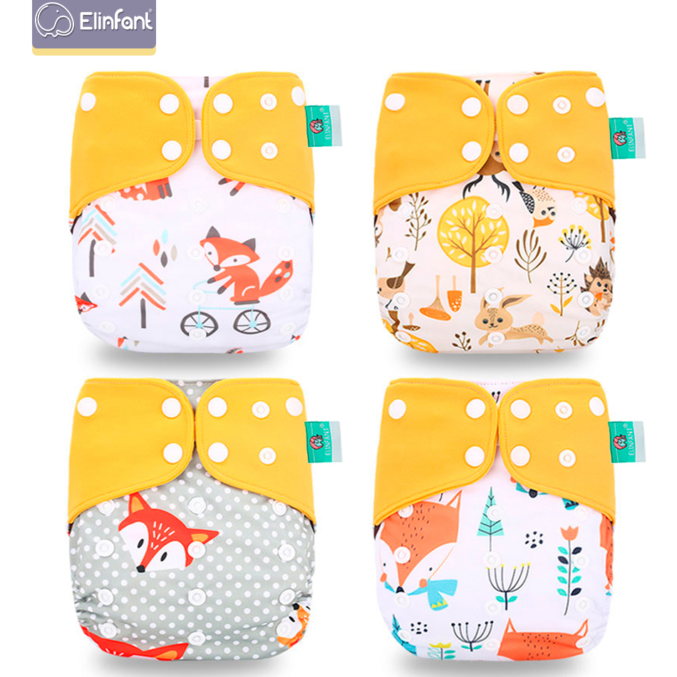 Elinfant Diaper Nappy Cloth Coffee Adjustable Eco-Friendly New 4pcs/Set title=
