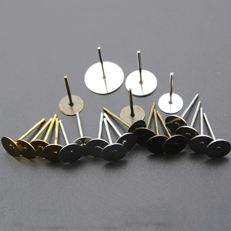 4//6//8//10MM Stainless Steel Blank Stud Base Fit Cabochon Earring Findings