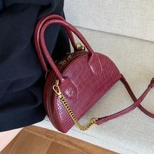 С каменным узором кожаные сумки через плечо для женщин Роскошная качественная сумка через плечо Дамская брендовая дорожная полукруглая сумка