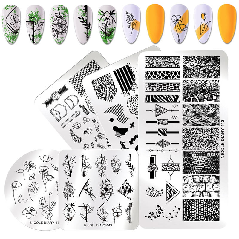 NICOLE DIARY Rectangle Nail Stamping Plates Marble Flower Animals Design Stamp Templates Image Printing Stencil Nail Art Tool