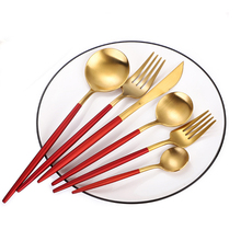 4Pcs/set Black Gold Red Cutlery Set 304 Stainless Steel Dinnerware Silverware Flatware Set Dinner Knife Fork Spoon Dropshipping 24pcs matte stainless steel cutlery set dinnerware set black gold knife fork spoon silverware kitchen party dinner tableware set
