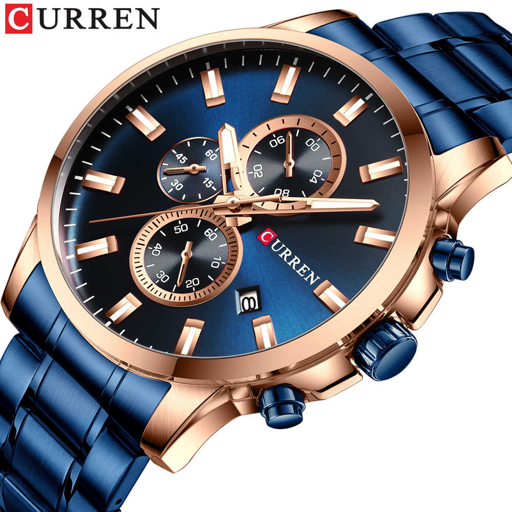 CURREN 2019 חדש קלאסי גברים של נירוסטה שעון ספורט מזדמן עמיד למים קוורץ הכרונוגרף שעון גברים של תצוגת תאריך